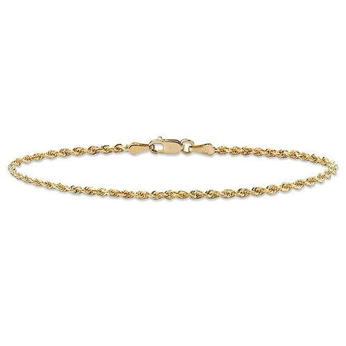 Classic Rope Chain Anklet Handcrafted 10K Yellow Gold Thickness is 2mm Measures