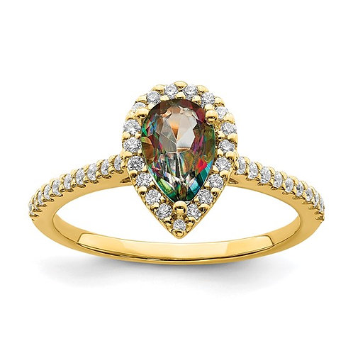Handcrafted 14k Yellow Gold Mystic Fire Diamond Halo Engagement Ring