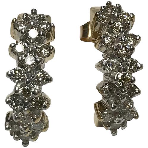 14 k Yellow Gold 1.00 CTW Diamond Earrings