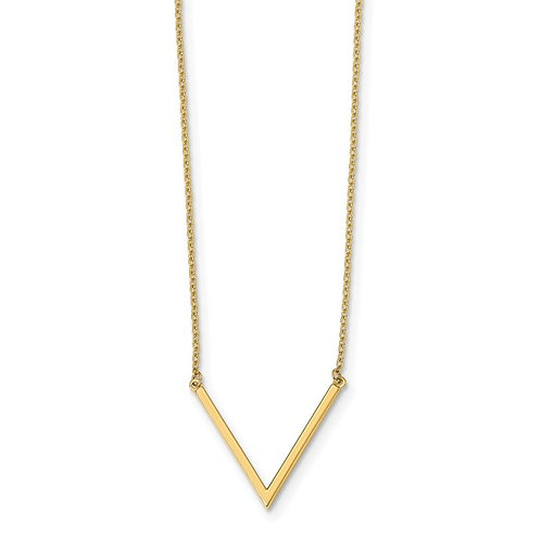 """14k Polished Yellow Gold """"V"""" Necklace Measures 17"""" w/1"""" Extender 1mm NICE!"""