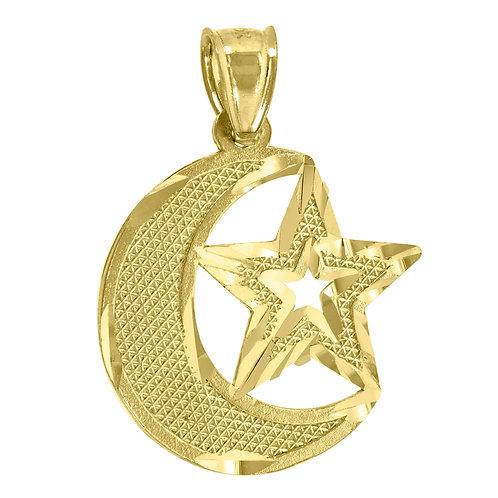 Men's Celestial Moon & Star Religious Charm Pendant 10k Yellow Gold NICE!