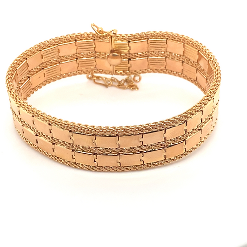 Absolutely Stunning! Super Thick Statement Handcrafted 18K Rose Gold Bracelet