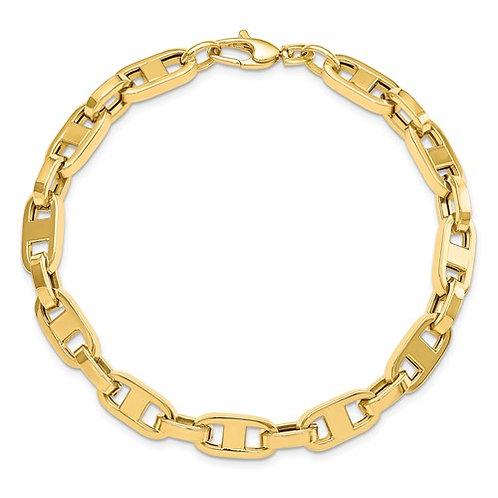 """Men's 14k Fancy Link Gorgeous Gold Bracelet Measures 8.75"""" 6mm 10g NICE!"""
