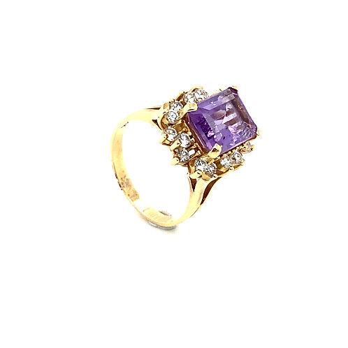 Stunning 14K Gold 2 Carat Amethyst Ring