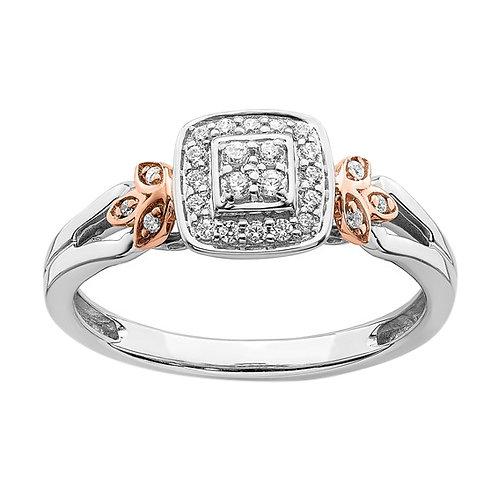 10k White & Rose Gold Diamond Cluster Engagement Ring Unique Upscale Design