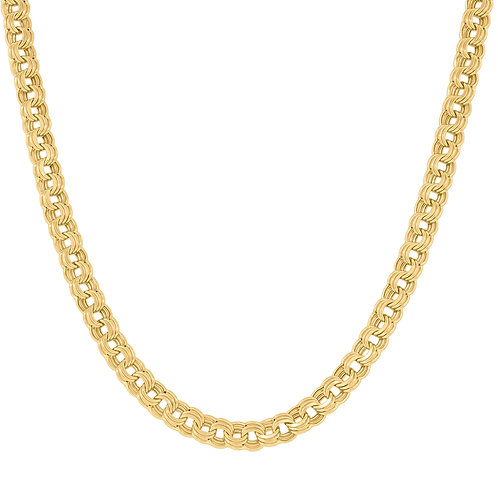 "14k Yellow Gold Double Oval Fancy Link Necklace Measures 20"" 8.9g Gorgeous Piece"