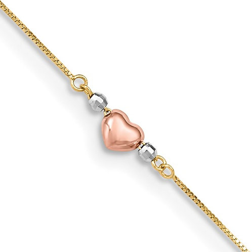 """14k Tri Color Gold Puffed Heart Anklet Measures 9"""" plus 1"""" Extender NICE!"""
