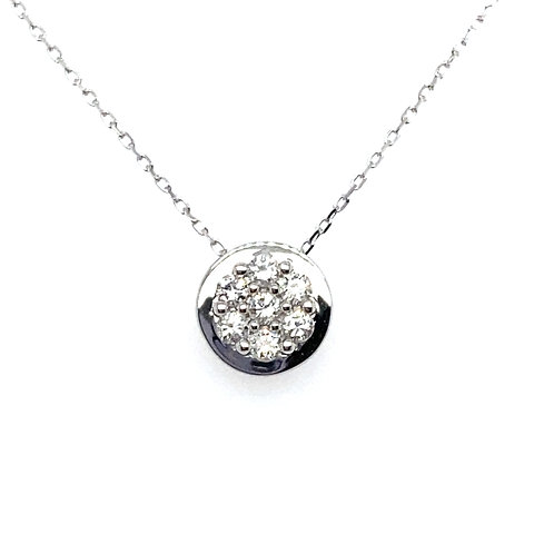 Beautiful 14K White Gold 0.60 Carats Circle Necklace and Earring Set