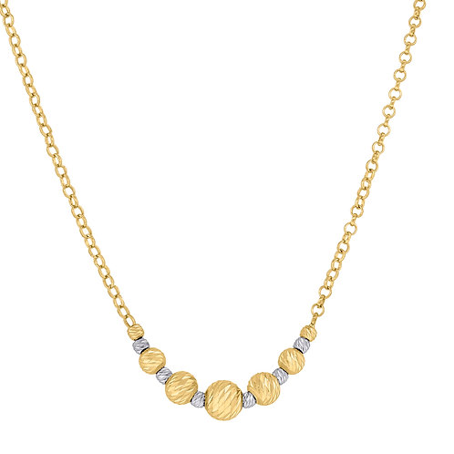 14k Yellow Gold Polished Textured Beaded Necklace Fancy Gorgeous Piece!