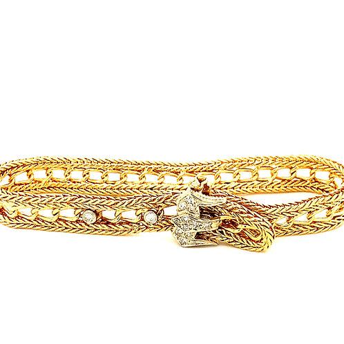 "Vintage Diamond & 14k Gold Fancy Link Buckle Style Bracelet 9mm Measures 7 3/4"""