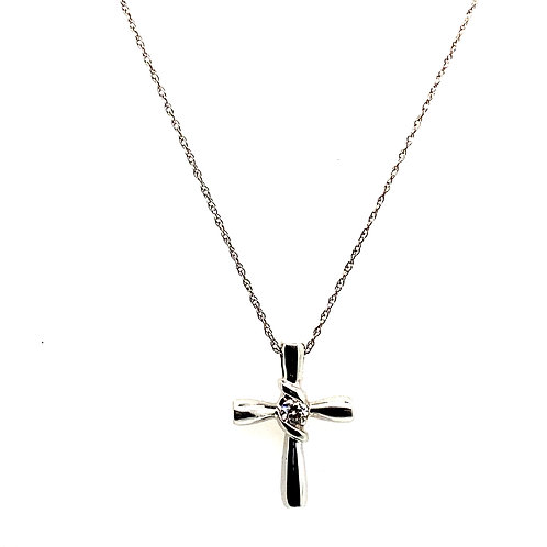 "Gorgeous Sweet Dainty 14k White Gold Necklace 19"" & Sapphire Cross Pendant"