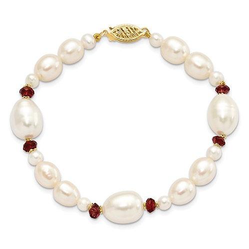 """14k Freshwater Cultured Pearl & Garnet Bead Bracelet 10mm 7.25"""" GORG!"""