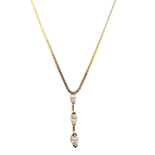 "Beautiful IGI Certified 3 Tier Drop Diamond & 14k Yellow Gold Necklace 18"""