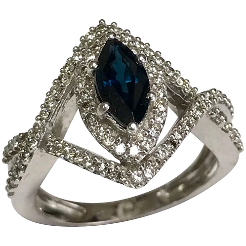 14 K White Gold 0.75CTW Marquise Sapphire & Diamond Ring
