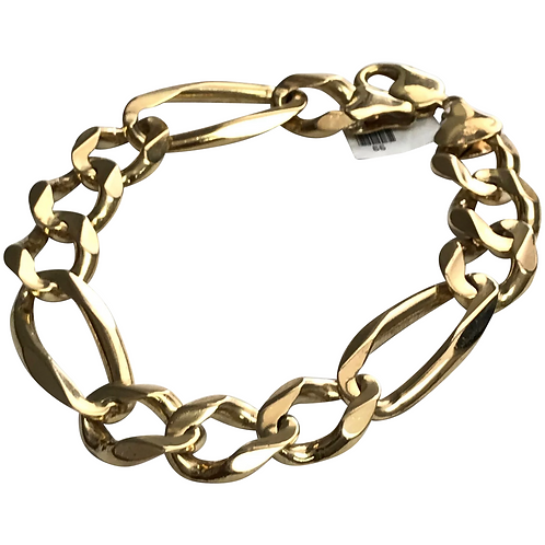 10 K Yellow Gold Solid Figaro Bracelet