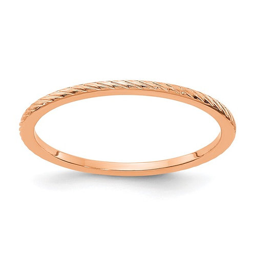 Women's 14K Rose Gold Twisted Wire Design Polished Stackable Band