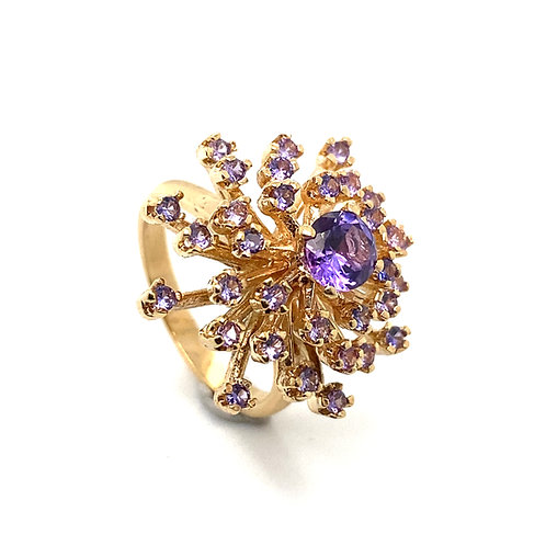 Absolutely Stunning Burst of Purple Amethyst Stones Set in Handcrafted 14K Gold