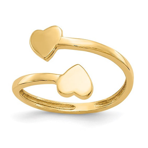 Gorgeous Super Sweet Toe Ring Double Heart Toe Ring 14K Yellow Gold
