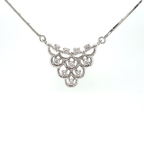 Absolutely Stunning 14K White Gold and IGI Certified Diamonds Pendant Necklace