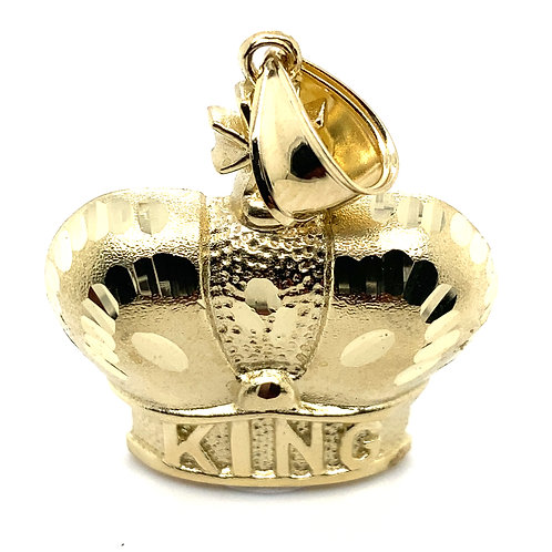 "Beautiful King Crown Handcrafted Solid 10k Yellow Gold Pendant Says ""King""NICE"