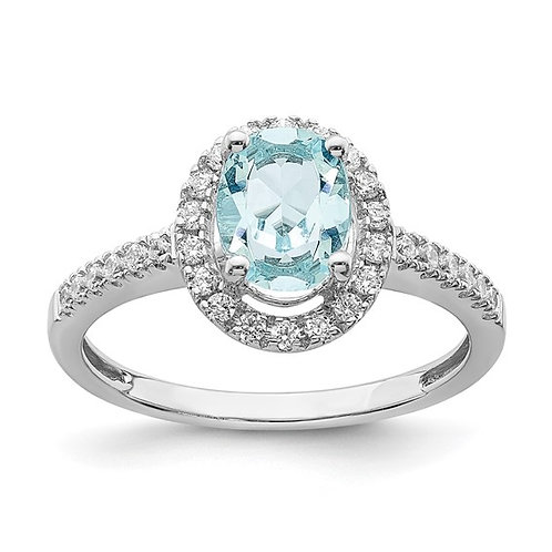 Absolutely GORGEOUS! Aquamarine Diamond Halo Engagement Ring 14k White Gold