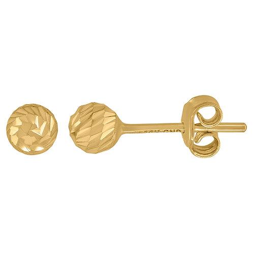Beautiful 14k Yellow Gold Diamond Cut Ball Stud Earrings