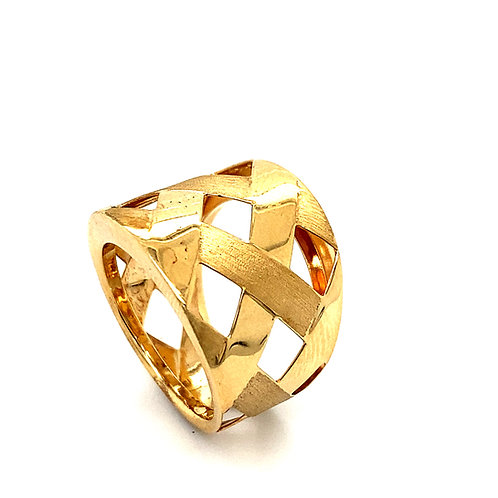 Handcrafted 14k Yellow Gold Thick Cocktail Statement Ring Basket Weave Design