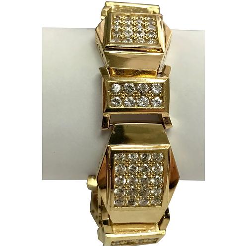10 K Yellow Gold 16.5 ctw Simulated Diamond Link Bracelet.
