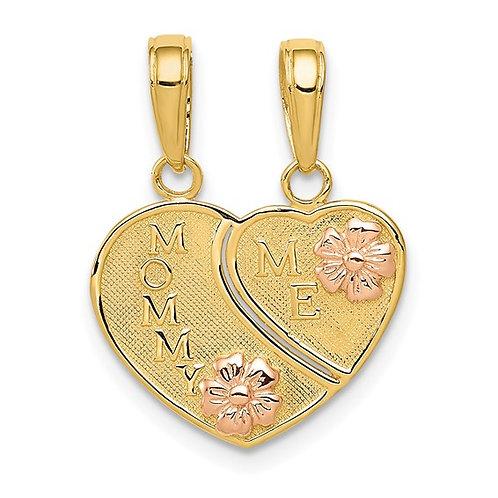 14K Two Tone Gold MOMMY & ME Break Away Heart Charm Pendant Gorgeous Gift!