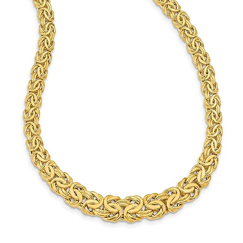 """Women's Gorgeous 14k Yellow Gold Byzantine Necklace 17.5"""" 12mm Italy 17.8g"""