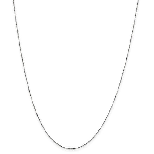 """10k White Gold Cable Chain 14"""" 0.6mm Dainty Sweet Necklace"""