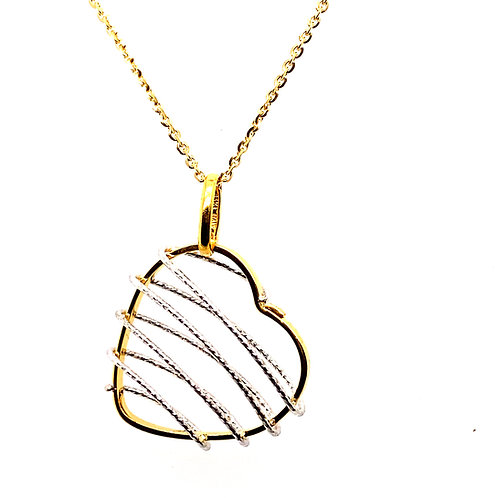 Unique Diamond Cut Handcrafted 14k White & Yellow Gold Heart Pendant & Necklace