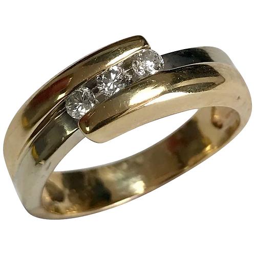 14 K Yellow/White Gold Three Diamond Wedding Band