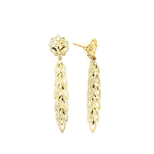 Beautiful 14K Gold Leaf Design Dangly Earrings