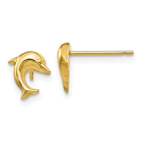 14k Yellow Gold Small Dolphin Post Earrings