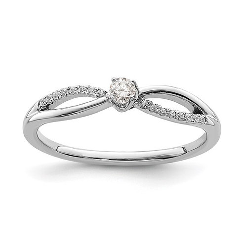 Gorgeous 14K White Gold & Diamond Promise Engagement Ring NICE!