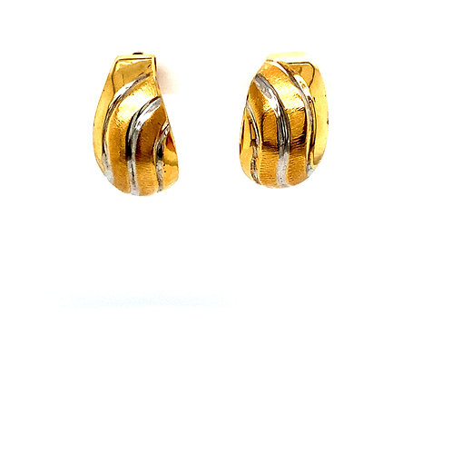 "Two Tone Satin & Polished Small Hoop Earrings Measure .5"" White & Yellow Gold"