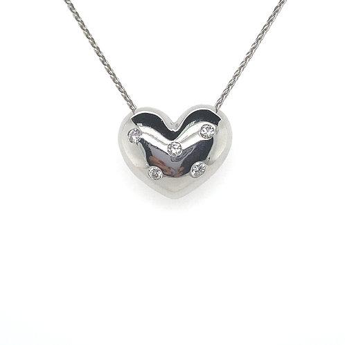 Gorgeous 14K White Gold Diamond Heart Pendant Necklace