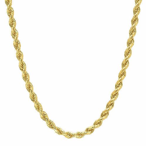 "Hollow Rope Chain Measures 25"" Thickness is 7mm Handcrafted 10k"