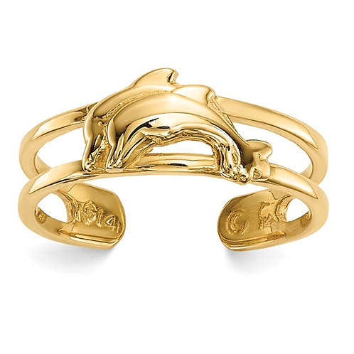 Dolphin Handcrafted 14K Solid Polished Yellow Gold Toe Ring 3.5mm