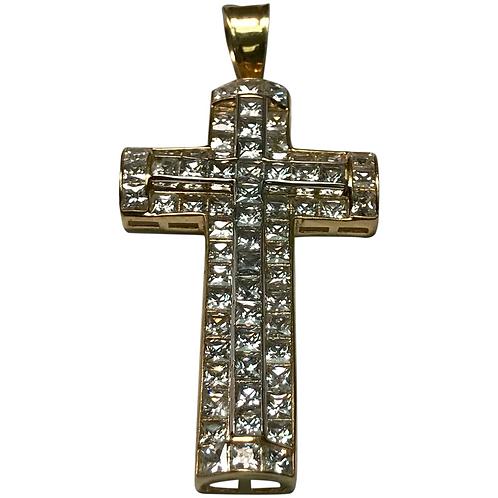 10 K Yellow/White Gold Simulated Diamond Three Dimensional Double Cross