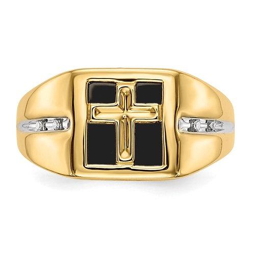 Men's 14k Yellow Gold Diamond & Onyx Cross Ring 11mm 5g GORGEOUS!