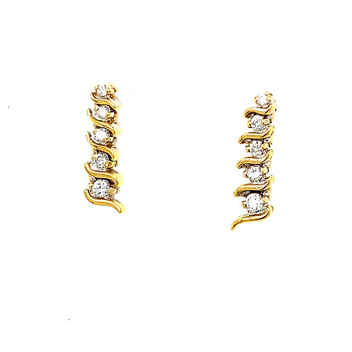 All The Bling You Need! .60ct Diamond Drop Earrings Set in 14k Yellow Gold