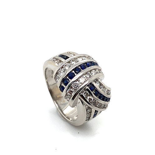 GORGEOUS IGI Certified Sapphire & Diamond Statement Ring Very Beautiful Piece!