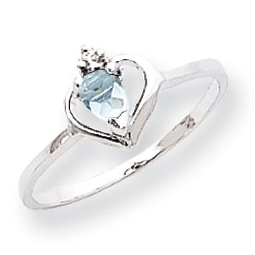 14k White Gold Pear Shaped Aquamarine & Diamond Ring Beautiful Piece!