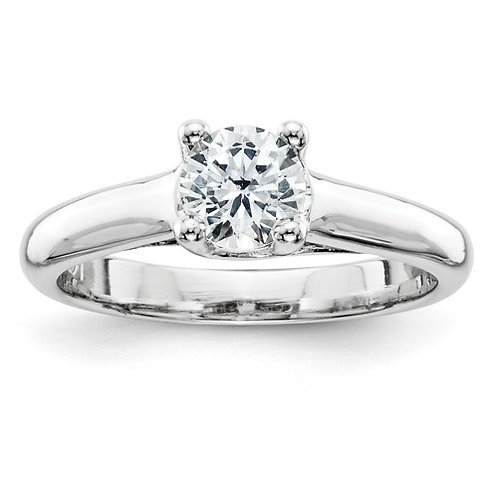 GORGEOUS BLING! 14k Handcrafted White Gold & Solitaire Diamond 0.5ct Engagement
