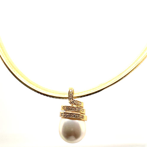 Beautiful Large Pearl Diamond Pendant & Gorgeous Thick 7mm Omega Necklace 16""