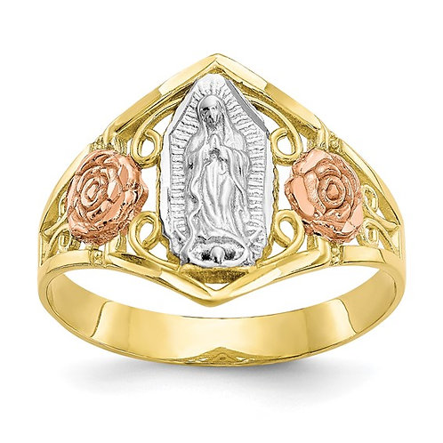 10K Two Tone Polished Gold Our Lady of Guadalupe Ring GORGEOUS!