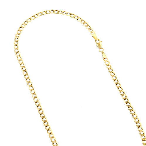 Solid Curb Handcrafted 10k Yellow Gold Chain Link Necklace Thickness is 6mm 27""