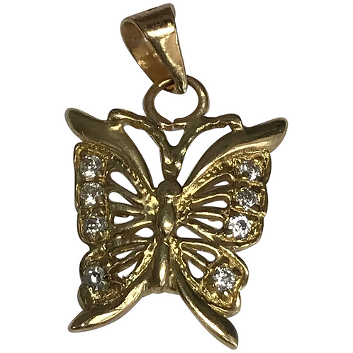 14 K Yellow Gold Simulated Diamond Butterfly Pendant/Charm